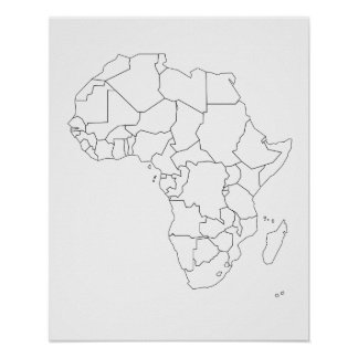 Africa Map Outline Poster