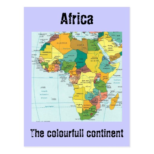 Africa  map post card