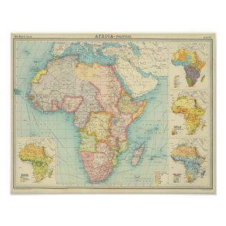 Africa Map with shipping routes Poster