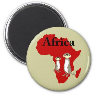 Africa meerkats 6 cm round magnet