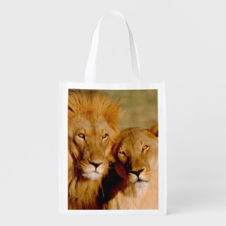 Africa, Namibia, Okonjima. Lion & lioness Reusable Grocery Bag