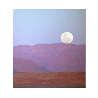 Africa, Namibia, Sossusvlei. A full moon rests Notepad