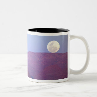 Africa, Namibia, Sossusvlei. A full moon rests Two-Tone Coffee Mug