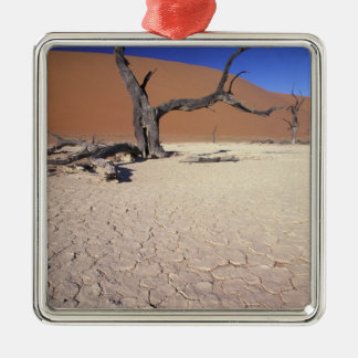Africa, Namibia, Sossusvlei Region. Sand dunes Silver-Colored Square Decoration