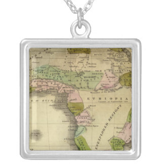 Africa Olney Map Silver Plated Necklace