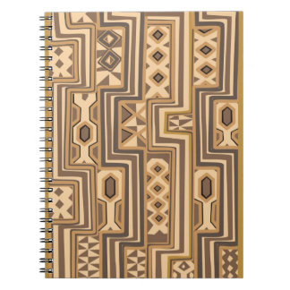 Africa Patterns: Brown abstract African art Spiral Note Book