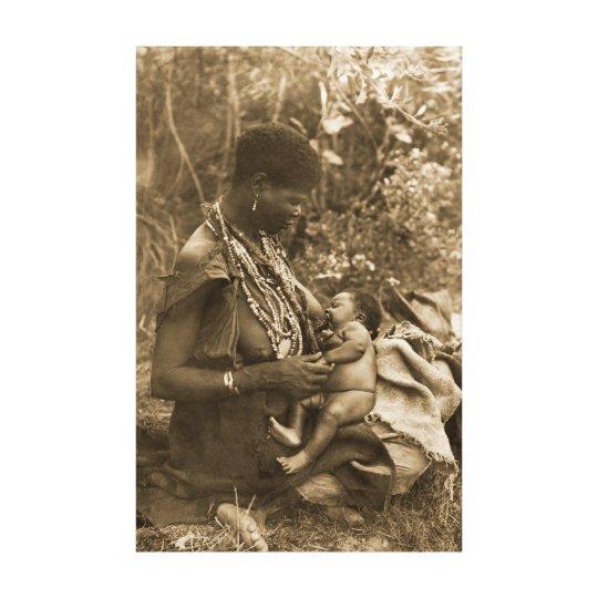 AFRICA POWERFUL WOMAN BREASTFEEDING VINTAGE SEPIA CANVAS PRINT