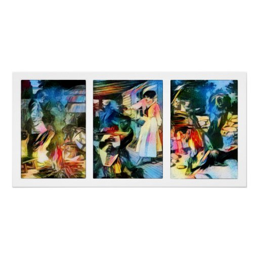 Africa Pulp Fiction Triptych Poster