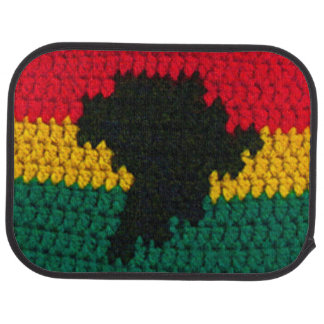 Africa Red Gold Green Black Crochet on Car Mat Set