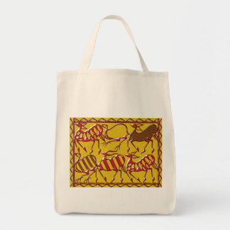 Africa red on yellow tote bag