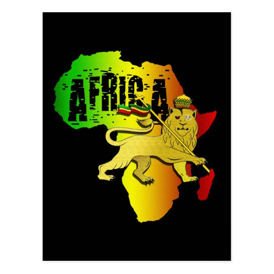 Africa Reggae Rasta African Continent Judah Lion Postcard