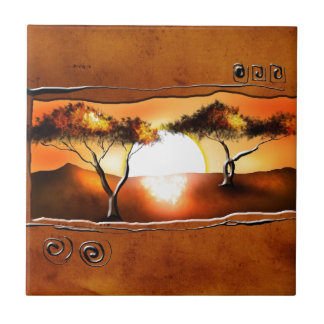 Africa retro vintage style gifts 12 small square tile