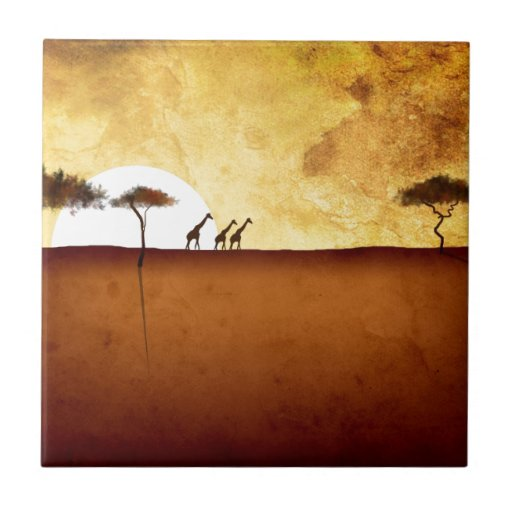 Africa retro vintage style gifts 16 ceramic tiles