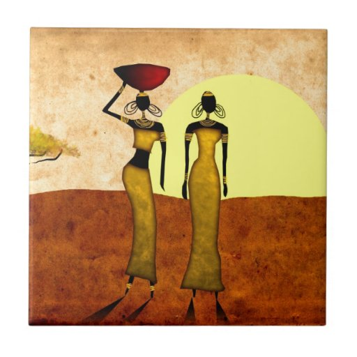 Africa retro vintage style gifts 24 ceramic tile