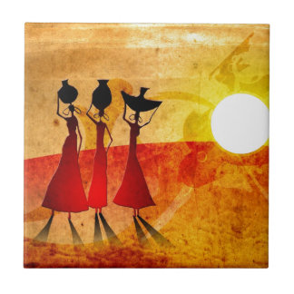 Africa retro vintage style gifts 27 small square tile