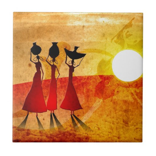 Africa retro vintage style gifts 27 ceramic tiles
