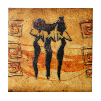 Africa retro vintage style gifts 36 small square tile