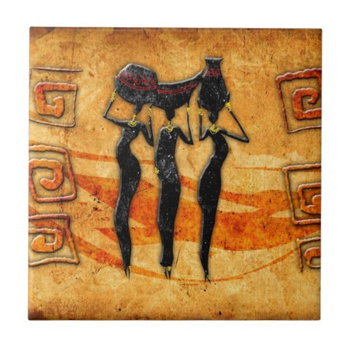 Africa retro vintage style gifts 36 ceramic tiles