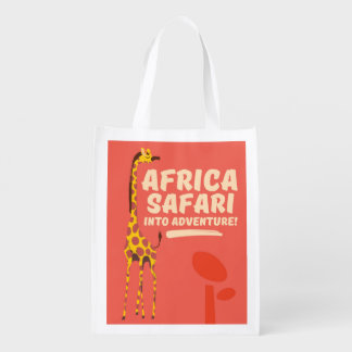 Africa Safari Into Adventure! Reusable Grocery Bag