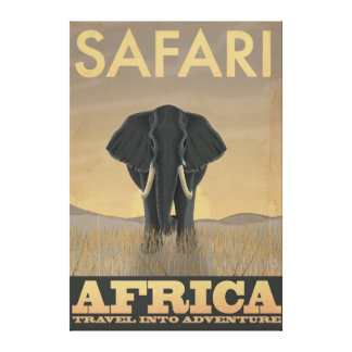 Africa Safari vintage travel poster Stretched Canvas Print
