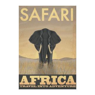 Africa Safari vintage travel poster Stretched Canvas Print