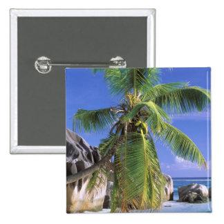 Africa, Seychelles, La Digue Island. Granite 2 15 Cm Square Badge