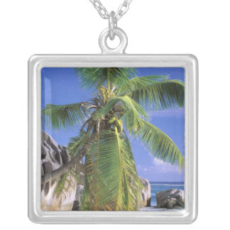 Africa, Seychelles, La Digue Island. Granite 2 Silver Plated Necklace