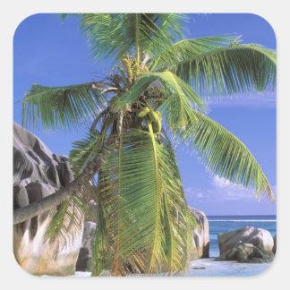 Africa, Seychelles, La Digue Island. Granite 2 Square Sticker