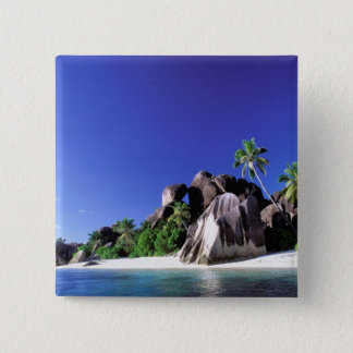 Africa, Seychelles, La Digue Island. Granite 3 15 Cm Square Badge