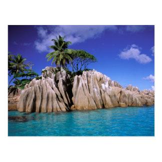Africa, Seychelles, La Digue Island. Granite Postcard