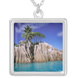 Africa, Seychelles, La Digue Island. Granite Silver Plated Necklace