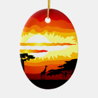 Africa sunset christmas ornament