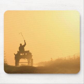 Africa sunset (dusk) scene: Kalahari donkey cart Mouse Pad