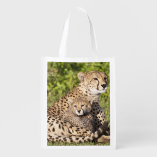 Africa. Tanzania. Cheetah mother and cubs 2 Reusable Grocery Bag