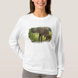 Africa. Tanzania. Elephant mother and calf at 2 T-Shirt