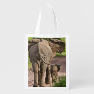 Africa. Tanzania. Elephant mother and calf at Reusable Grocery Bag