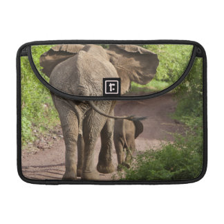 Africa. Tanzania. Elephant mother and calf at Sleeve For MacBook Pro