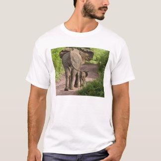 Africa. Tanzania. Elephant mother and calf at T-Shirt