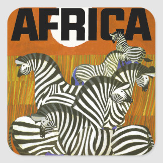 Africa Travel Poster with Zebras Square Sticker