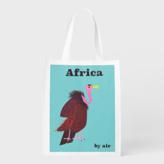 Africa Vulture vintage air travel poster Reusable Grocery Bag