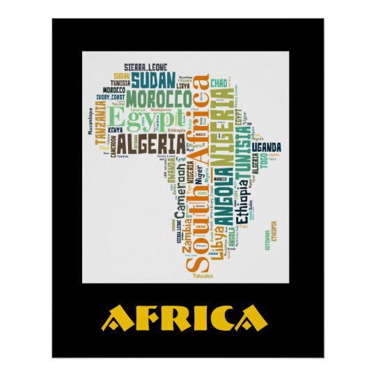 Africa Word Art Wall Poster