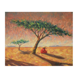 African Afternoon 2003 Wood Canvas