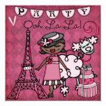 African Amer. Girl Ooh La La Paris Birthday Invite