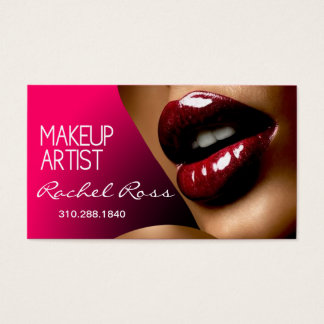African America Big Glossy Lips | fuschia Business Card