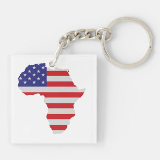 African American Africa United States Flag Double-Sided Square Acrylic Key Ring