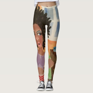 African American Angel Leggings Pants - Hair
