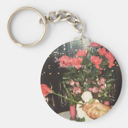 African American Anniversary Basic Round Button Key Ring