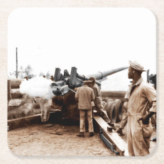 African American Artillerymen WWII Square Paper Coaster