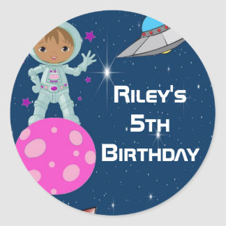 African American Astronaut Girl Party Favor Labels Round Sticker