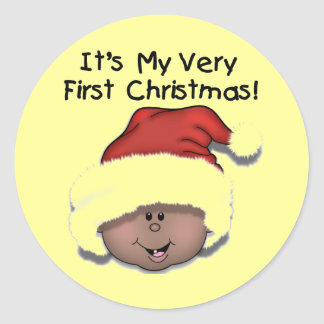 African American Baby 1st Christmas Round Sticker